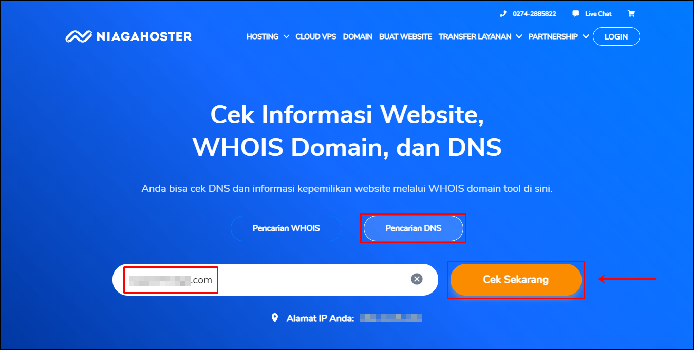1 Akses WHOIS Niagahoster   Pencarian DNS (Edit)