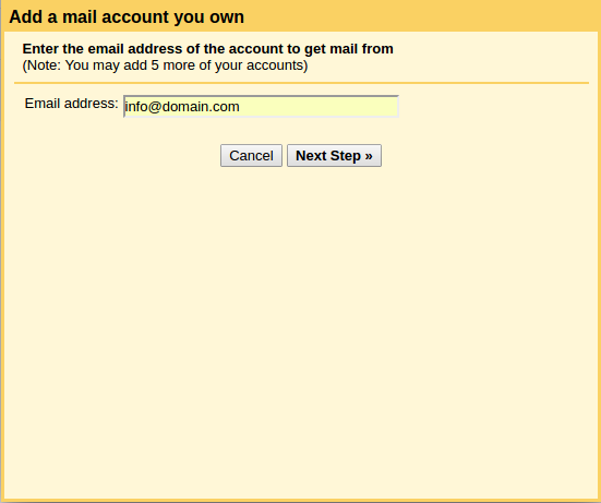 setting domain di gmail