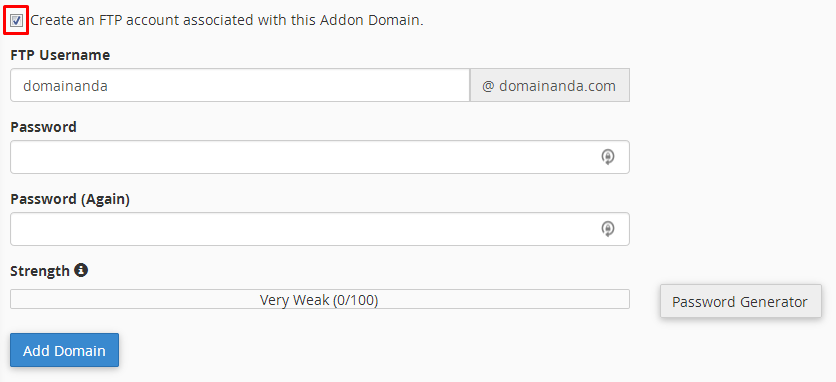 how to set addon domain