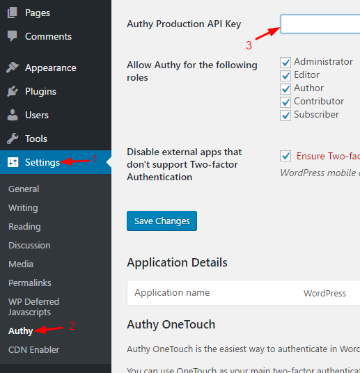 seting api key authy