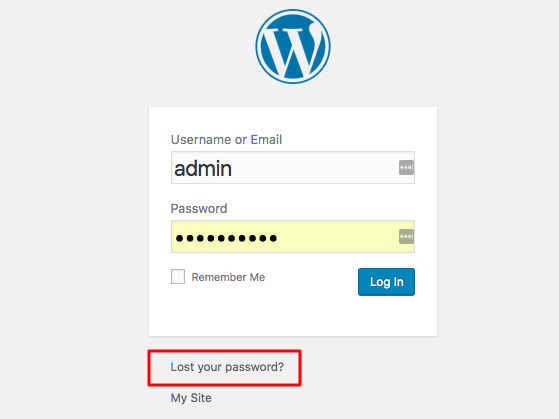 reset password wordpress
