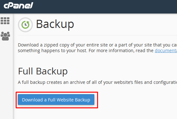 download backup cpanel