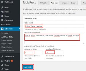 tabel wordpress