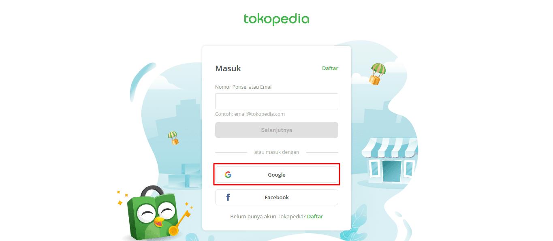 Contoh manfaat membuat email Gmail untuk masuk ke Tokopedia.
