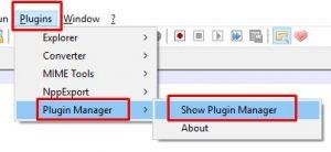 instal plugin notepad++
