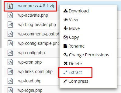 extract wordpress