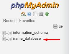 database di phpmyadmin