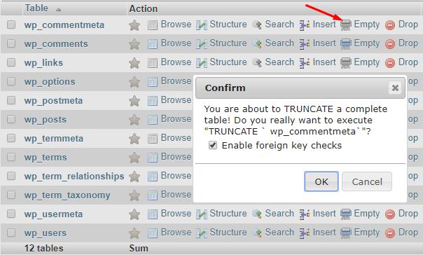 hapus isi tabel database