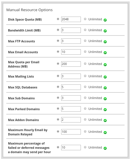 cara membuat cpanel - create a new account (3) Manual Resource Options