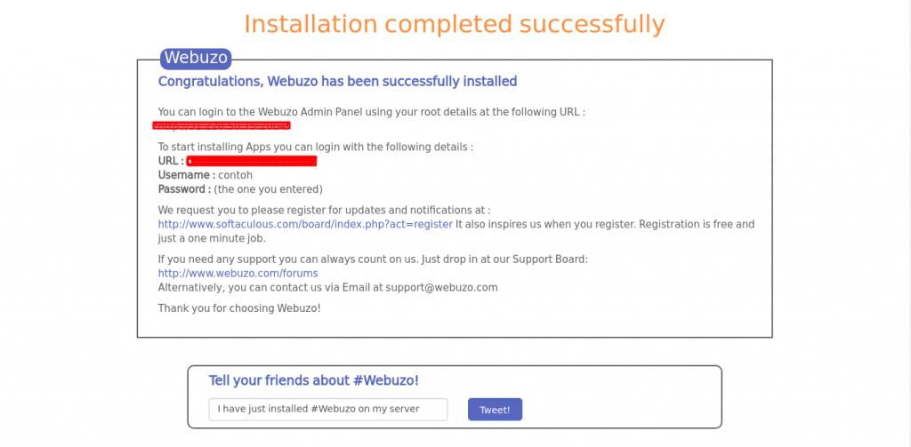 cara membuat cpanel - halaman awal instalasi webuzo berhasil