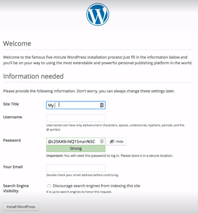 cara install wordpress instalasi