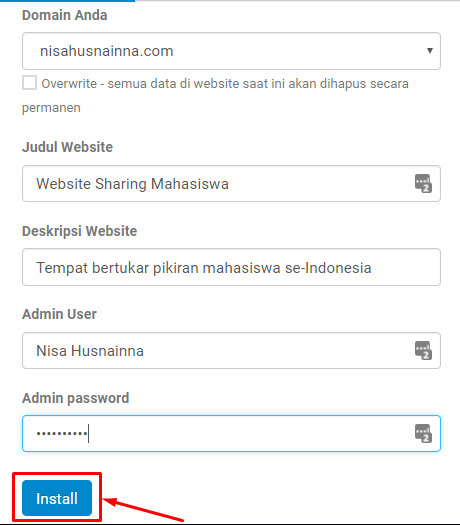 cara install wordpress niagahoster website
