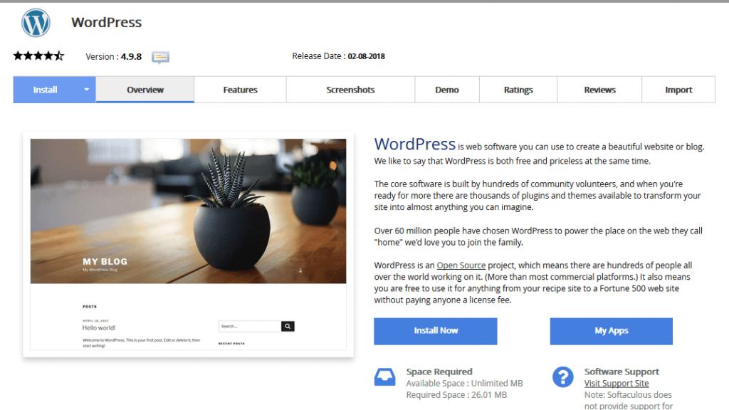 cara install wordpress now