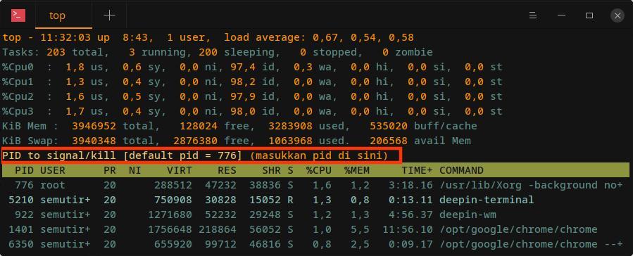 manajemen proses linux - kill top