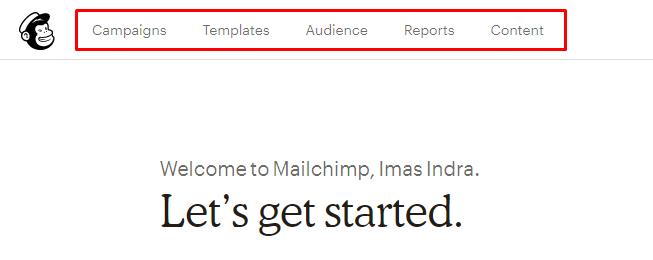 Cara menggunakan Mailchimp - menu Mailchimp