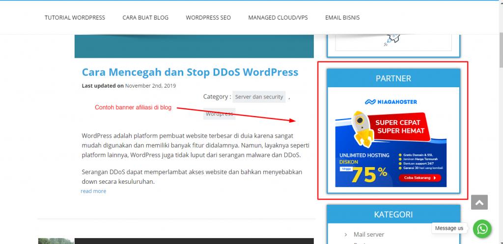 contoh bisnis afiliasi banner blog