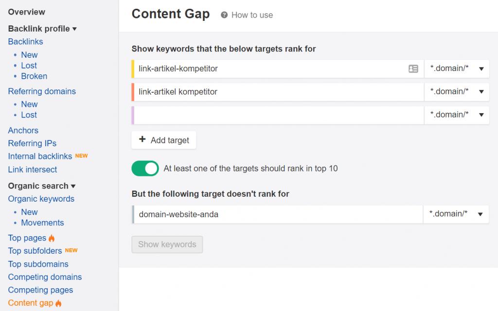 dashboard content gap di ahrefs