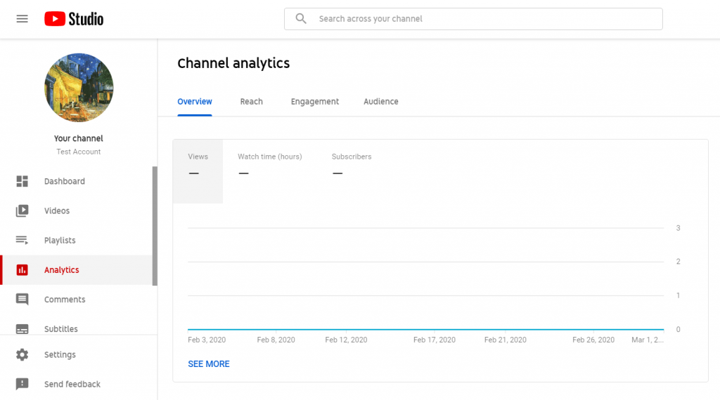 dashboard channel youtube analytics