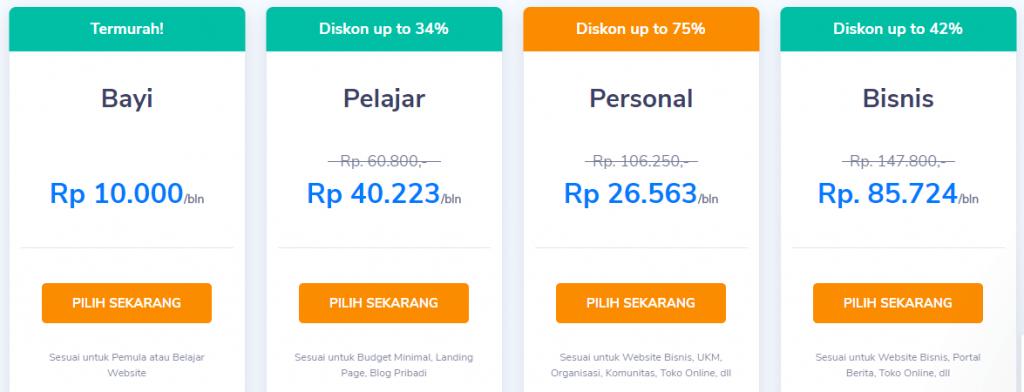 harga pembuatan website shared hosting