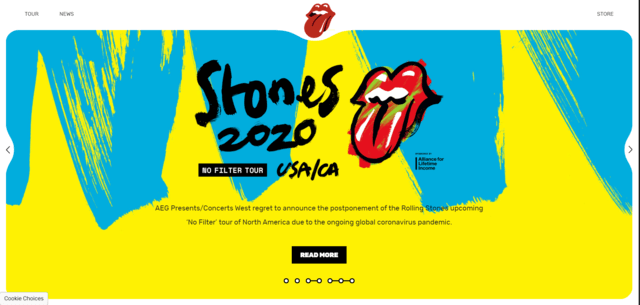 The Rolling Stones merupakan contoh website WordPress