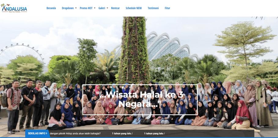 Contoh website travel di layanan website langsung jadi Niagahoster