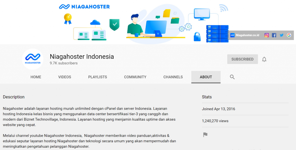 profil channel youtube niagahoster