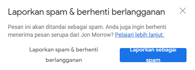 pop up laporkan email spam