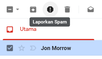 tombol laporkan email spam gmail