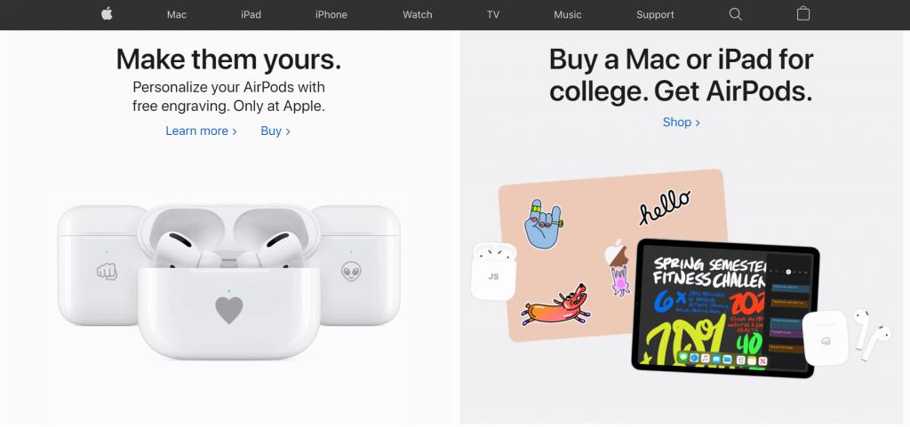 Website Layout Apple