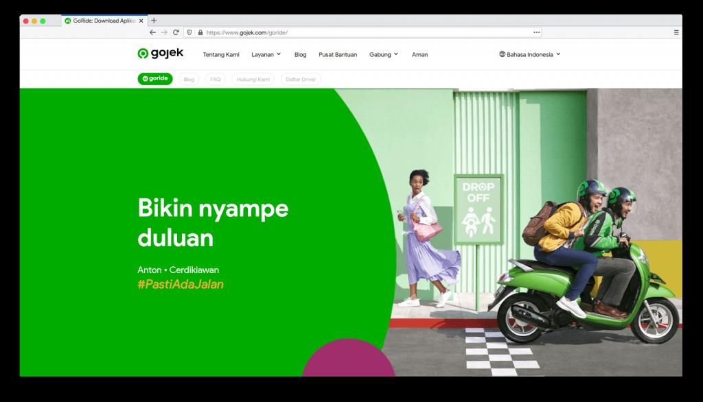 Tagline adalah upaya untuk mengenalkan visi bisnis seperti dilakukan Gojek.