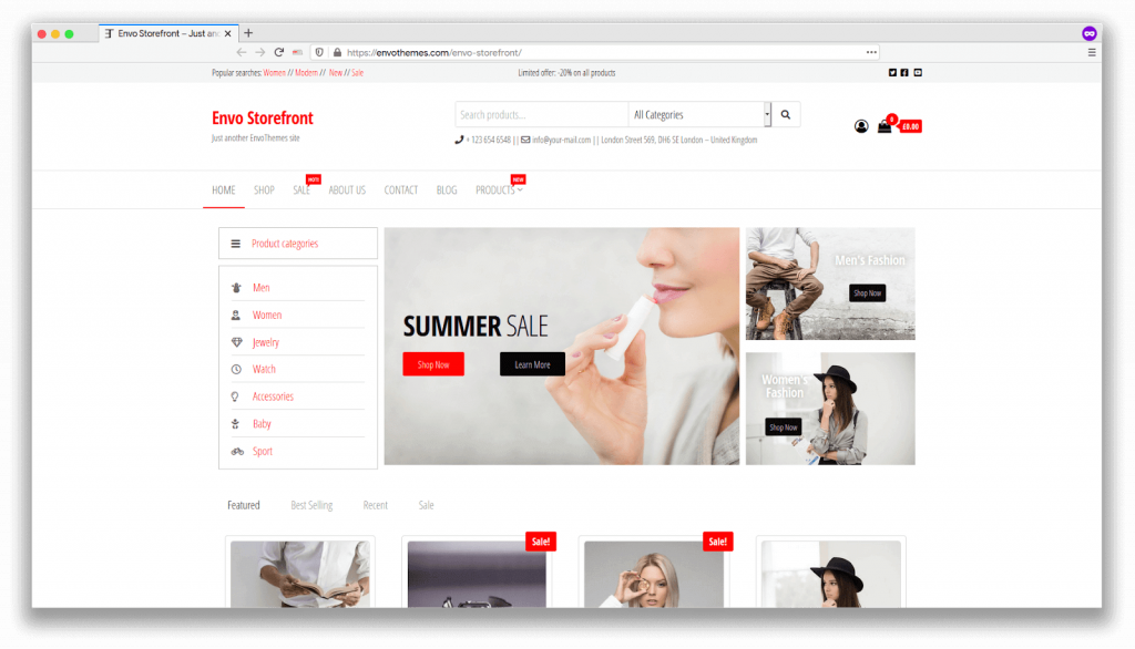 template website ecommerce